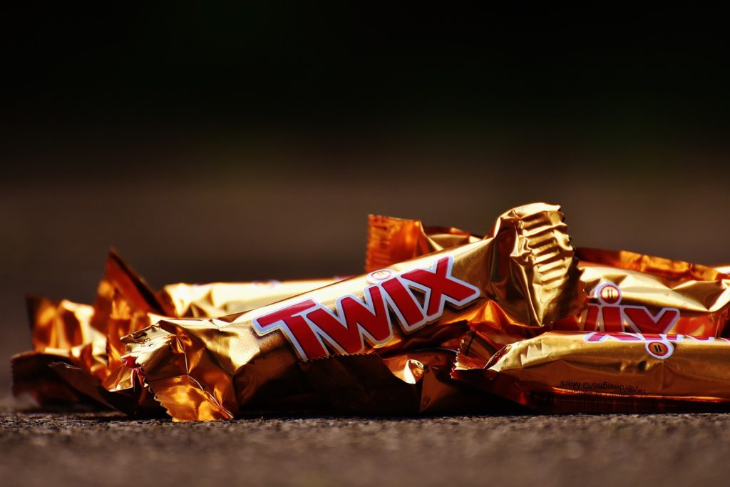 Pile of fun-sized Twix candy bars
