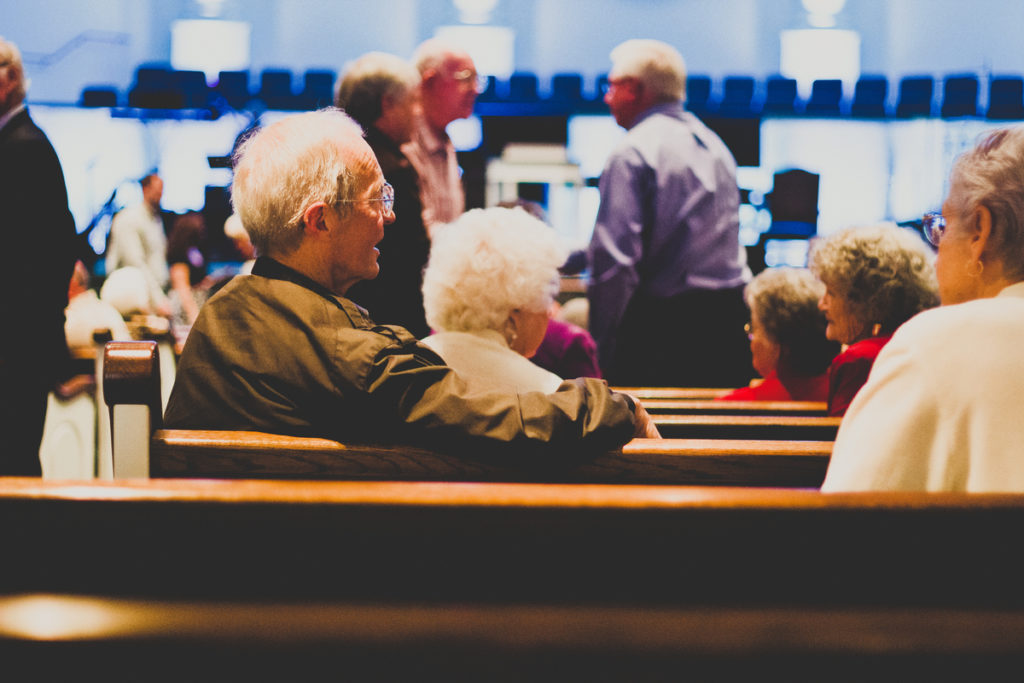 Older adults at a worship service