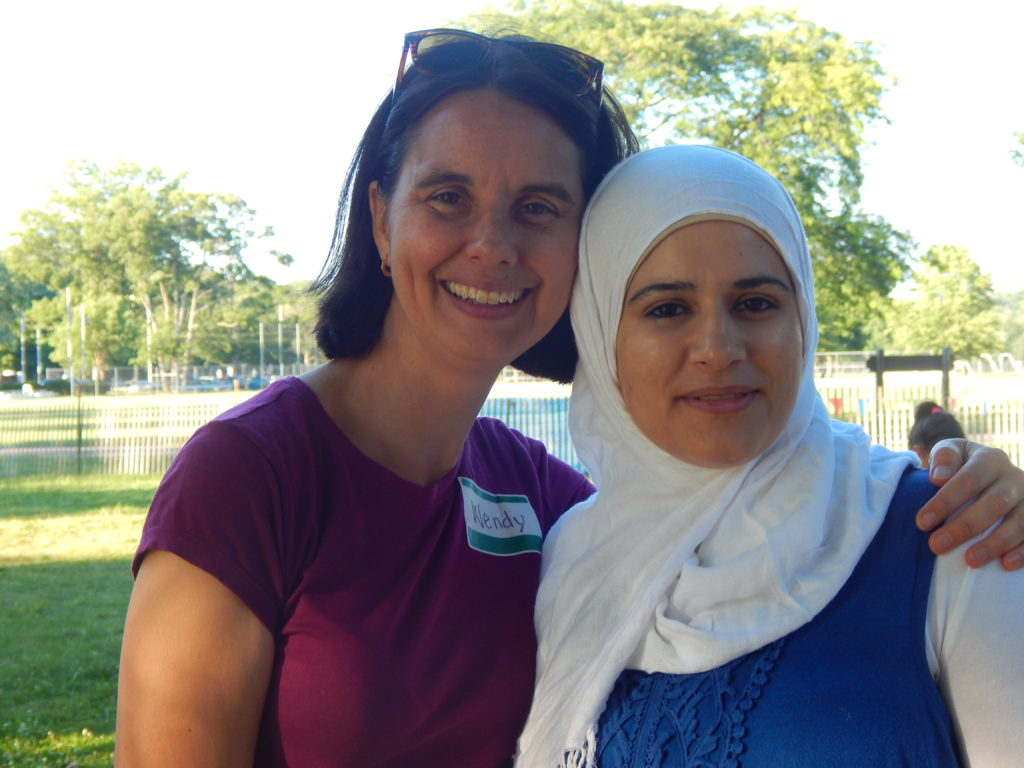 Wendy Jager and one of the refugees she taught English