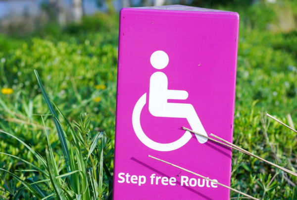 """""""Step-free route"""" sign"""