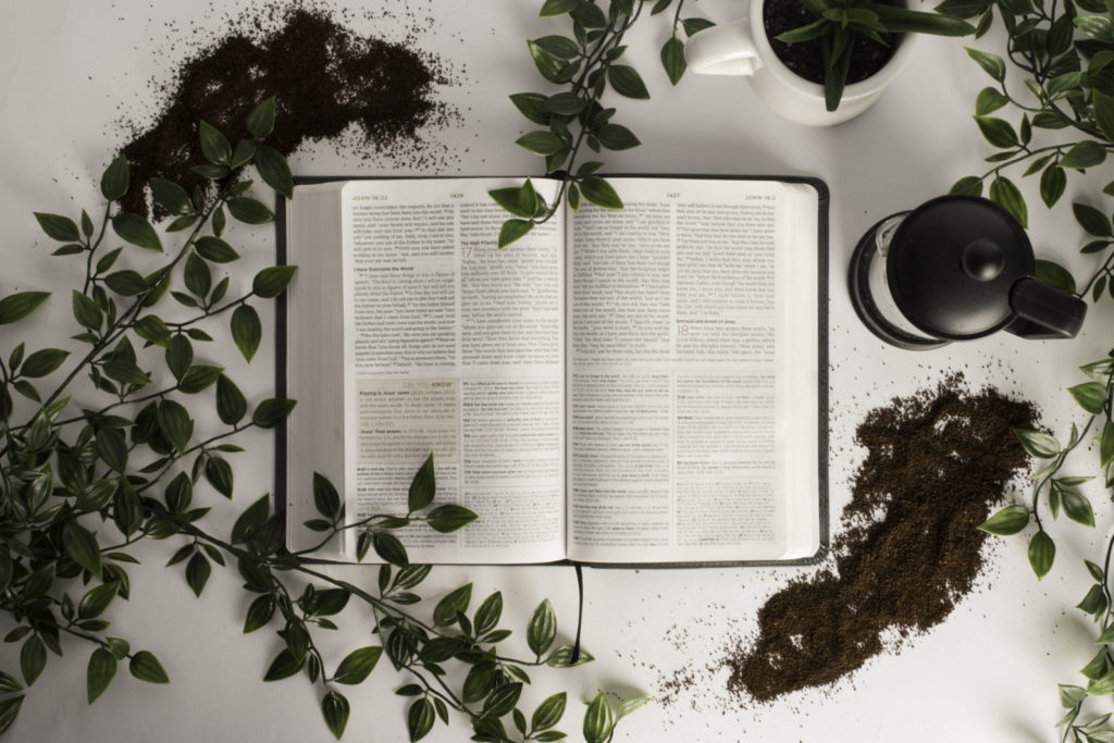 Open Bible with leaves and coffee mug