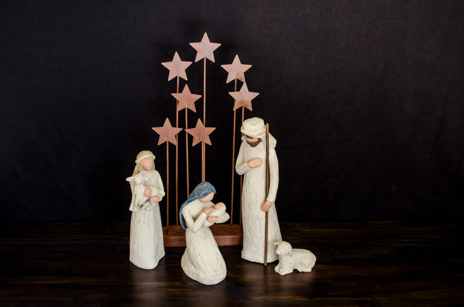 A nativity or creche set with Mary, Joseph, the shepherds, and baby Jesus