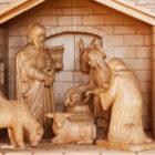 hand-carved wooden nativity set