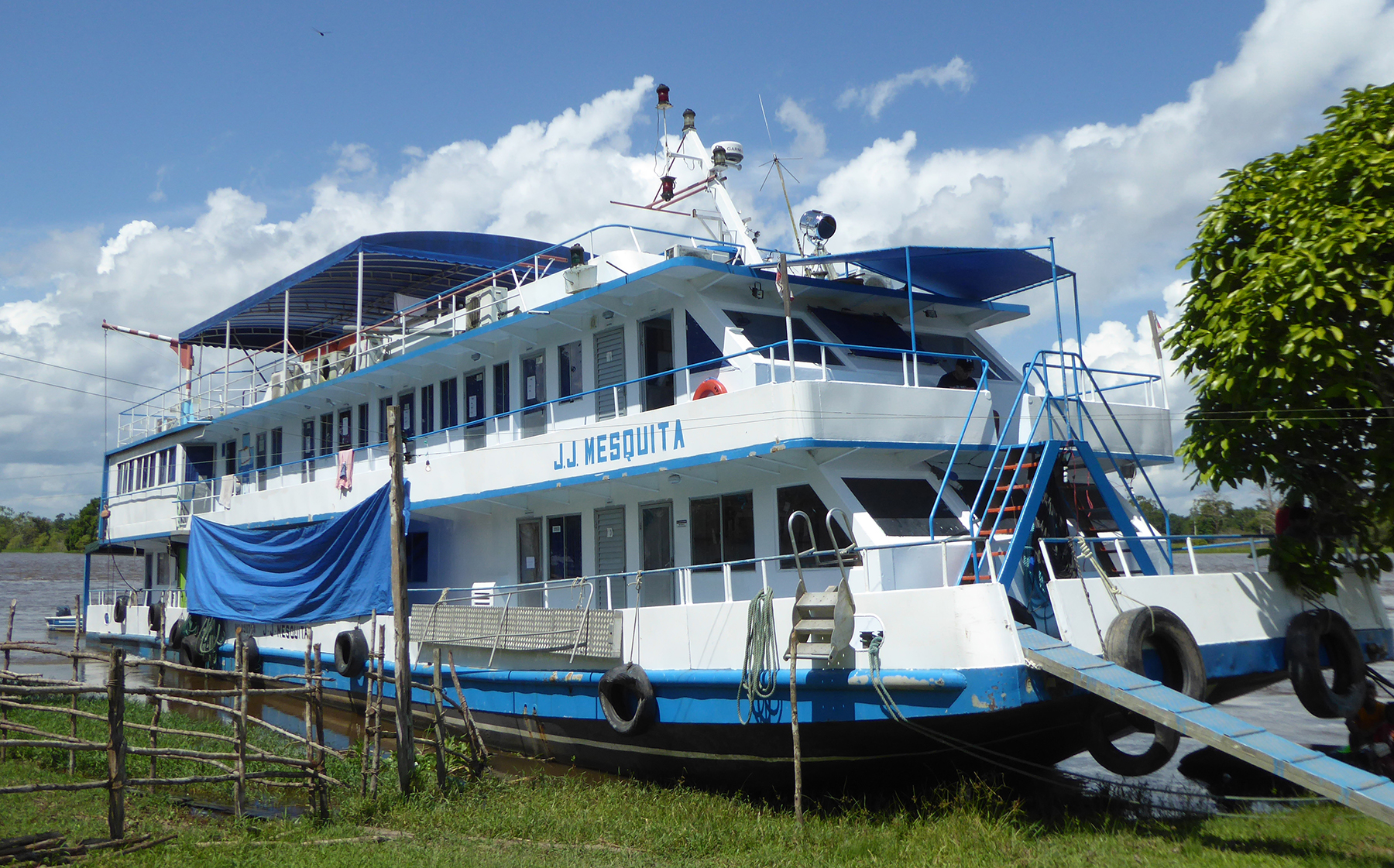 A white, double-decker boat with blue lining is docked along the grassy shore.