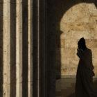 A person's shadow in a door.
