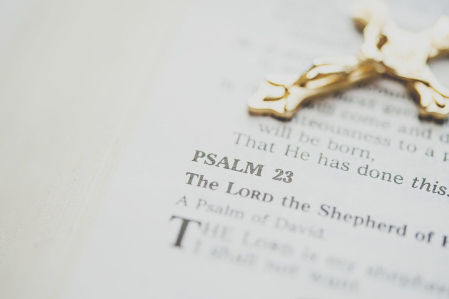Bible opened to Psalm 23 for devotions