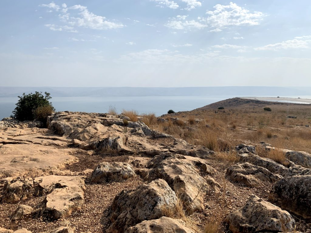An image of rocky terrain and sky captured during an Israel trip exploring women of the Bible