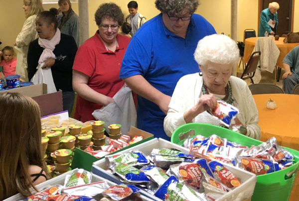 People in line at food bank