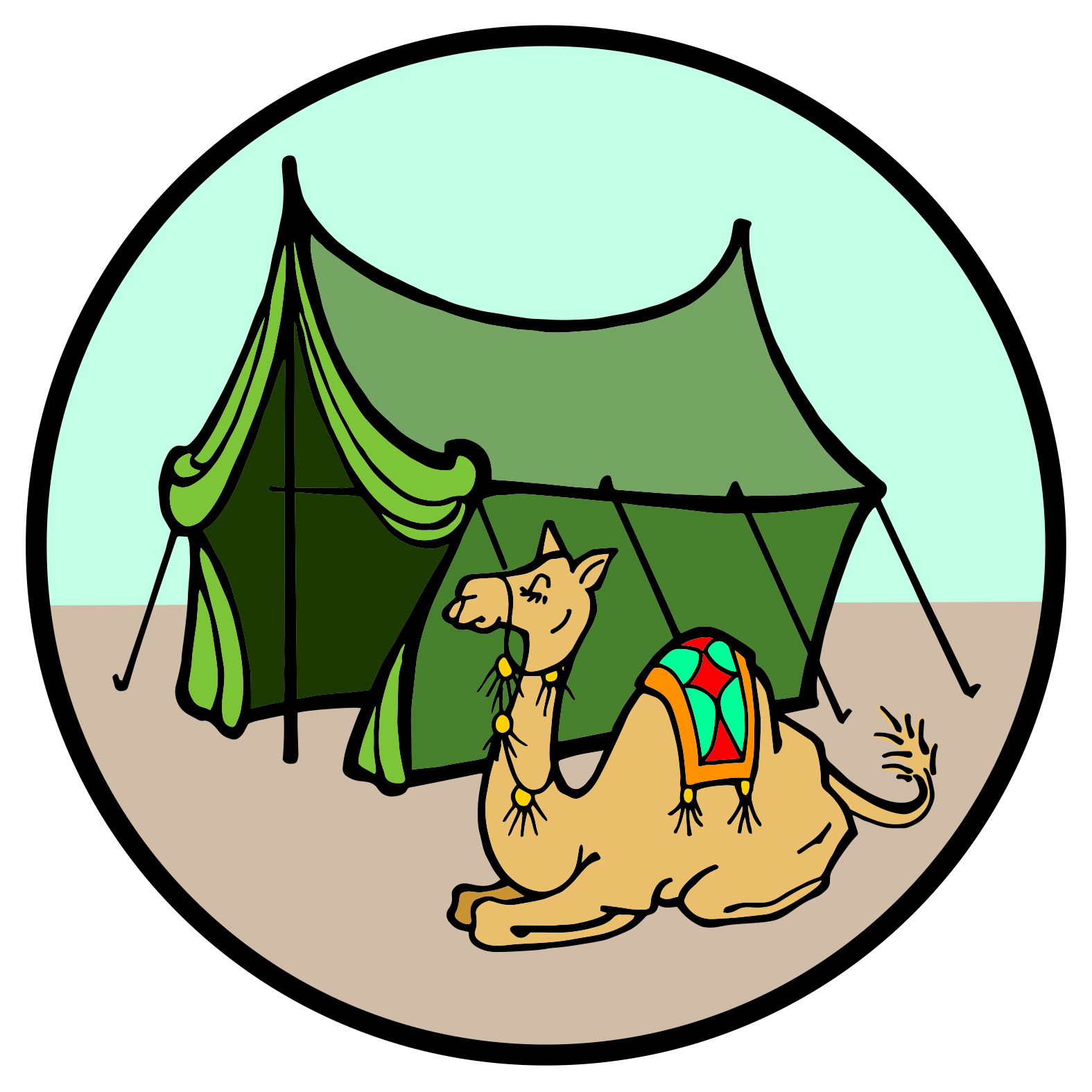 Tent with camel Jesse Tree symbol