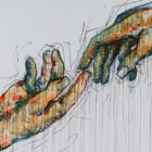 """A colorful sketch of two hands touching at finger point, reminiscent of Michelangelo's """"Creation of Adam."""""""