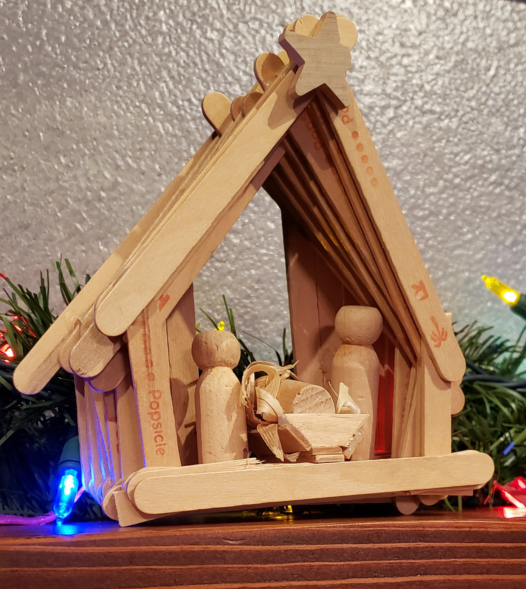 nativity made out of popsicle sticks