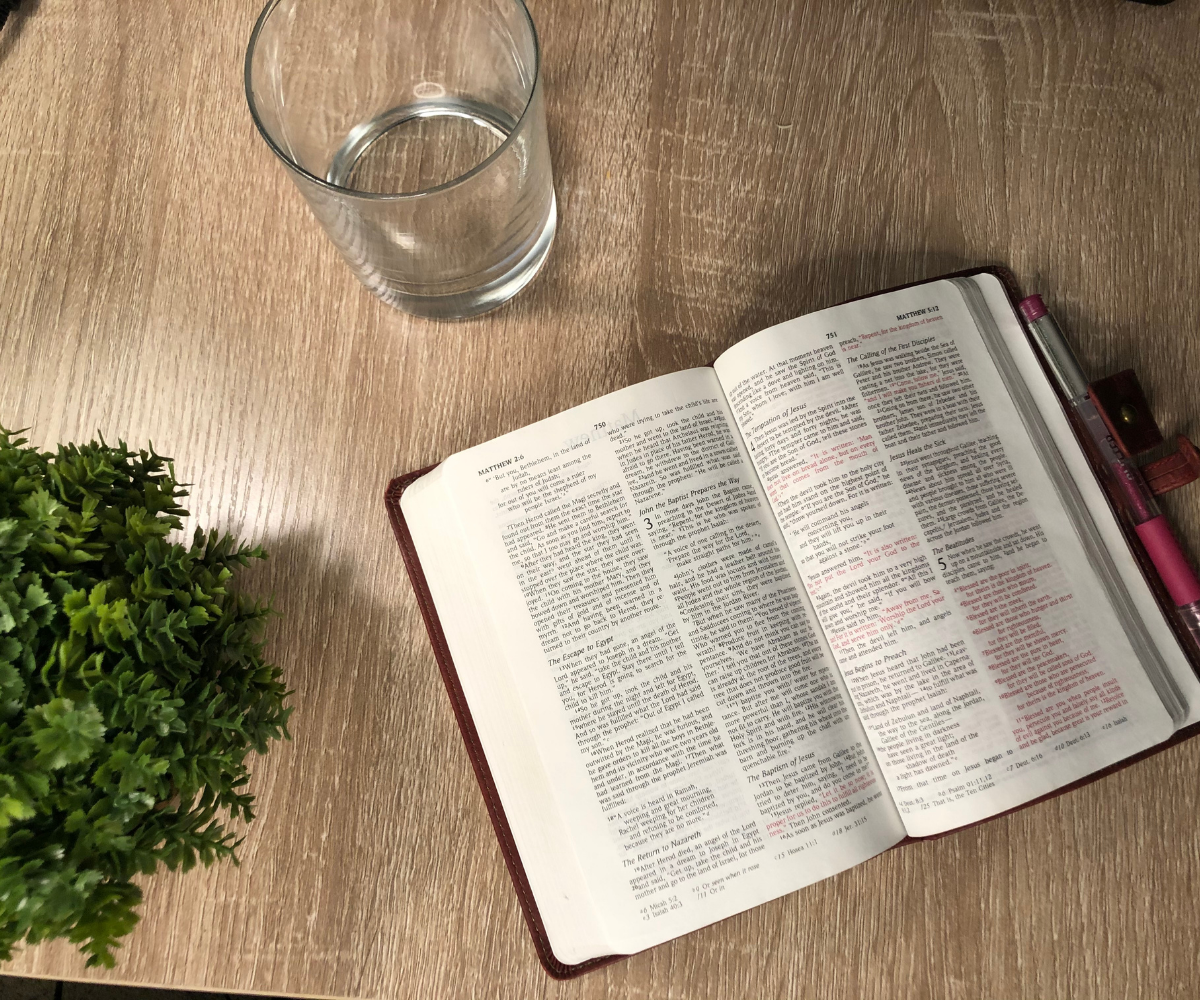 Bible opened to the gospel of Matthew on a table with a plant and glass of water